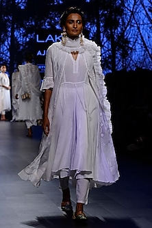 White Ruffled Sleeves Peshwa Jacket, Inner and Pants Set by Kotwara by Meera and Muzaffar Ali