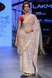 Grey Floral Motifs Saree with Embroidered Blouse