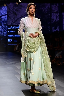 Pista Green Silk Brocade Pearl Embroidered Anarkali Set by Kotwara by Meera and Muzaffar Ali