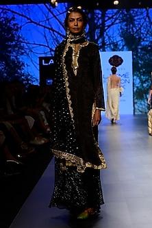 Black Sequinned Kurta and Garara Pants Set by Kotwara by Meera and Muzaffar Ali