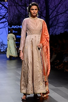 Champagne Silk Brocade Pearl Embroidered Anarkali Set with Orange Dupatta by Kotwara by Meera and Muzaffar Ali