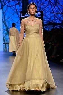 Gold High Low Peshwa Jacket and Shimmer Skirt Set by Kotwara by Meera and Muzaffar Ali