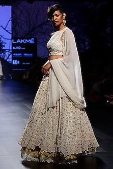 Ivory Pearl and Sequins Embroidered Lehenga Set by Kotwara by Meera and Muzaffar Ali