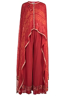 Tomato Red Printed Embroidered Top With Palazzo Pants by Krishna Mehta