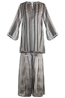 Black Printed Embellished Textured Krta With Sharara Pants by Krishna Mehta