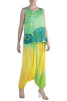 Green & Yellow Printed Embroidered Shaded Top WIth Dhoti Pants by Krishna Mehta