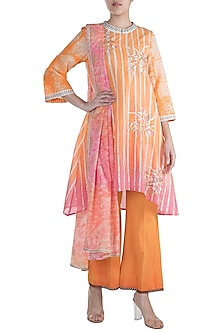 Peach Embellished Printed Kurta Set by Krishna Mehta