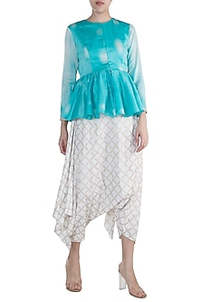 Blue Tie-Dye Peplum Top With Dhoti Pants by Krishna Mehta