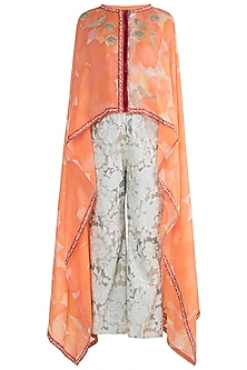 Peach Embroidered Printed Top With Palazzo Pants by Krishna Mehta
