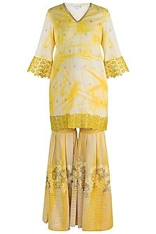 Yellow Embroidered & Tie-Dye Printed Sharara Set by Krishna Mehta