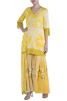Yellow Embroidered & Tie-Dye Printed Sharara Set by Krishna Mehta