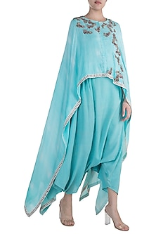 Turquoise Embroidered Printed High-Low Top With Dhoti Pants by Krishna Mehta