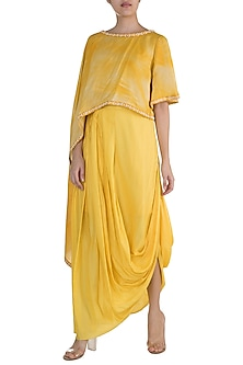 Yellow Embellished Printed Draped Top With Skirt by Krishna Mehta