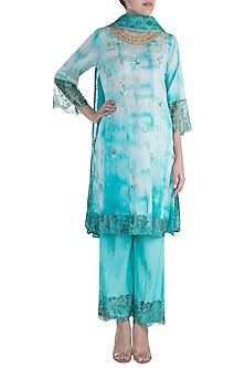 Turquoise Embroidered Printed Kurta Set by Krishna Mehta