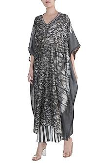 Grey Embellished & Marble Dye Printed Kaftan by Krishna Mehta