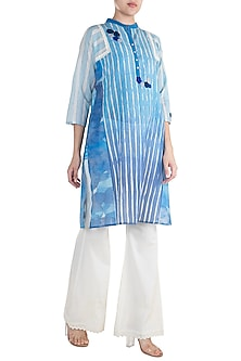 Blue Crochet Embroidered Tunic by Krishna Mehta