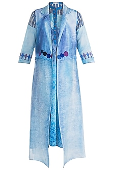 Blue Embroidered Jacket Style Tunic by Krishna Mehta