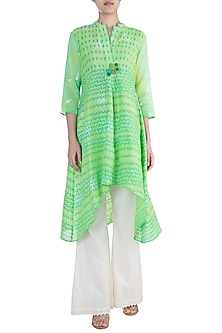 Green Printed Embroidered Tunic by Krishna Mehta