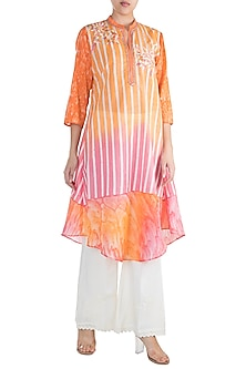 Pink & Orange Embroidered Tunic by Krishna Mehta