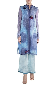 Blue Printed & Crochet Embroidered Tunic by Krishna Mehta