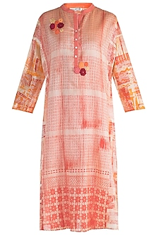 Orange Embroidered Printed Tunic by Krishna Mehta