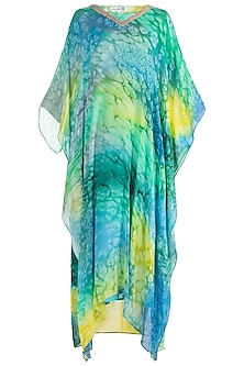 Multi Colored Printed Kaftan With Slip by Krishna Mehta