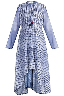 Blue & Purple Embellished Block Printed Tunic by Krishna Mehta
