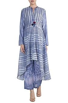 Blue & Purple Embellished Block Printed Tunic by Krishna Mehta