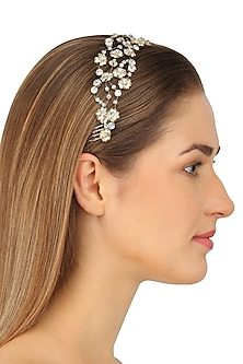 Ara Fresh Silver Crystal Embellished Headpiece by Karleo