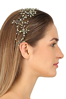Perseus Soft Greenery Crystal Embellished Headpiece by Karleo
