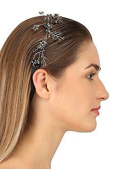 Octans Jet Black Crystal Embellished Headpiece