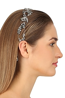 Norma Black Diamond Crystal Embellished Headpiece