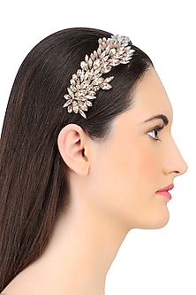 Shaded Pink Crystal Leaf Pattern Embellished Headband