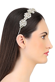 Silver Shadow Floral Crystal Embellished Headband by Karleo