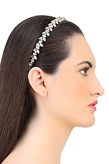Black Diamond and Grey Opal Crystal Embellished Headband by Karleo