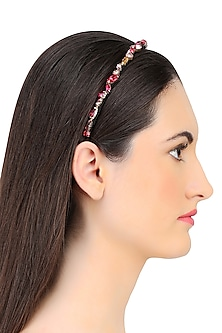 Ruby, Rose, and Vintage Rose Crystal Embellished Headband by Karleo