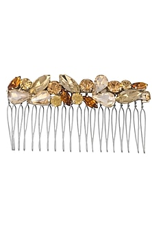 Gold, Ruby and Rose Pink Crystal Embellished Haircomb by Karleo