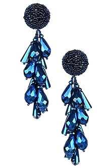 Metallic Blue Clustered Drop Earrings by Karleo
