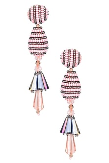 Pink and Black Beaded Bell Motif Earrings by Karleo