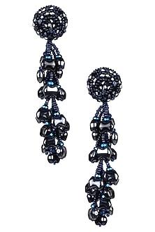 Metallic Blue Waterdrop Tassel Earrings by Karleo