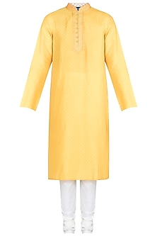 Yellow Embroidered Printed Kurta With Churidar Pants by Krishna Mehta Men