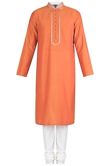 Rust Embroidered Printed Kurta With Churidar Pants by Krishna Mehta Men