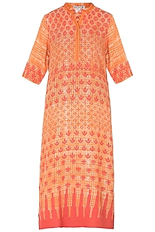 Orange Printed Chanderi Tunic by Krishna Mehta