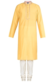 Yellow Embroidered Block Printed Kurta With Churidar Pants by Krishna Mehta Men