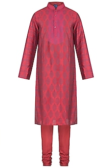 Maroon Embroidered Printed Kurta With Churidar Pants by Krishna Mehta Men