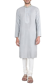 Grey Block Printed Embroidered Kurta With Churidaar Pants by Krishna Mehta Men