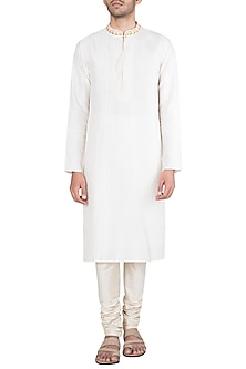 Off White Block Printed Embroidered Kurta With Churidaar Pants by Krishna Mehta Men