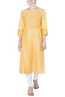 Yellow Printed Tunic by Krishna Mehta