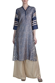 Blue Embellished Printed Tunic by Krishna Mehta