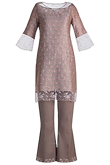 Brown Embroidered Tunic Set by Krishna Mehta